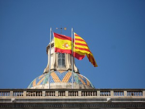 Banderas española y catalana