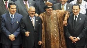Mubarak (derecha), junto a Gadafi y Ben Ali